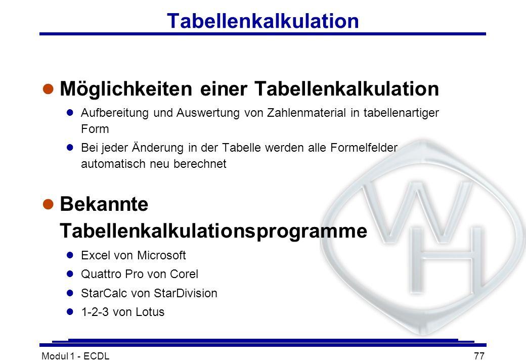 Modul 1 - ECDL77 Tabellenkalkulation l Möglichkeiten einer Tabellenkalkulation l Aufbereitung und Auswertung von Zahlenmaterial in tabellenartiger For