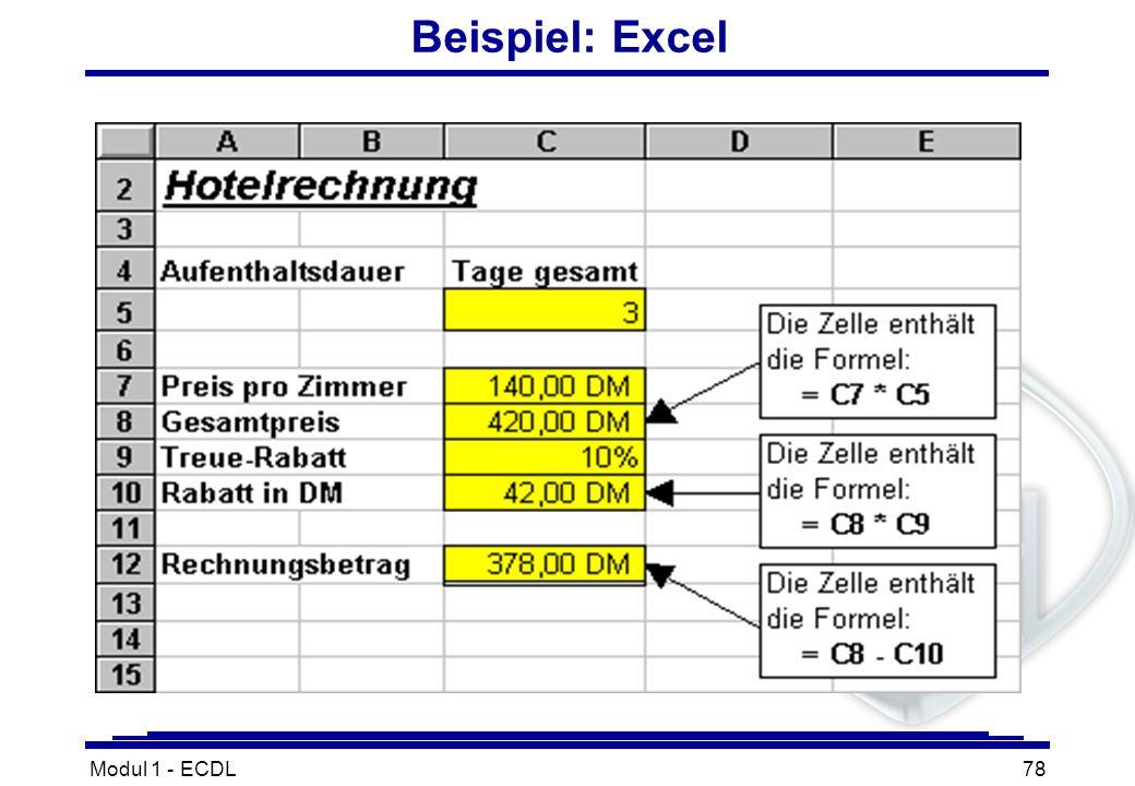Modul 1 - ECDL78 Beispiel: Excel