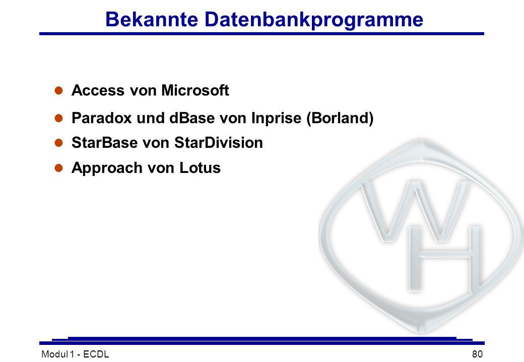 Modul 1 - ECDL80 Bekannte Datenbankprogramme l Access von Microsoft l Paradox und dBase von Inprise (Borland) l StarBase von StarDivision l Approach v