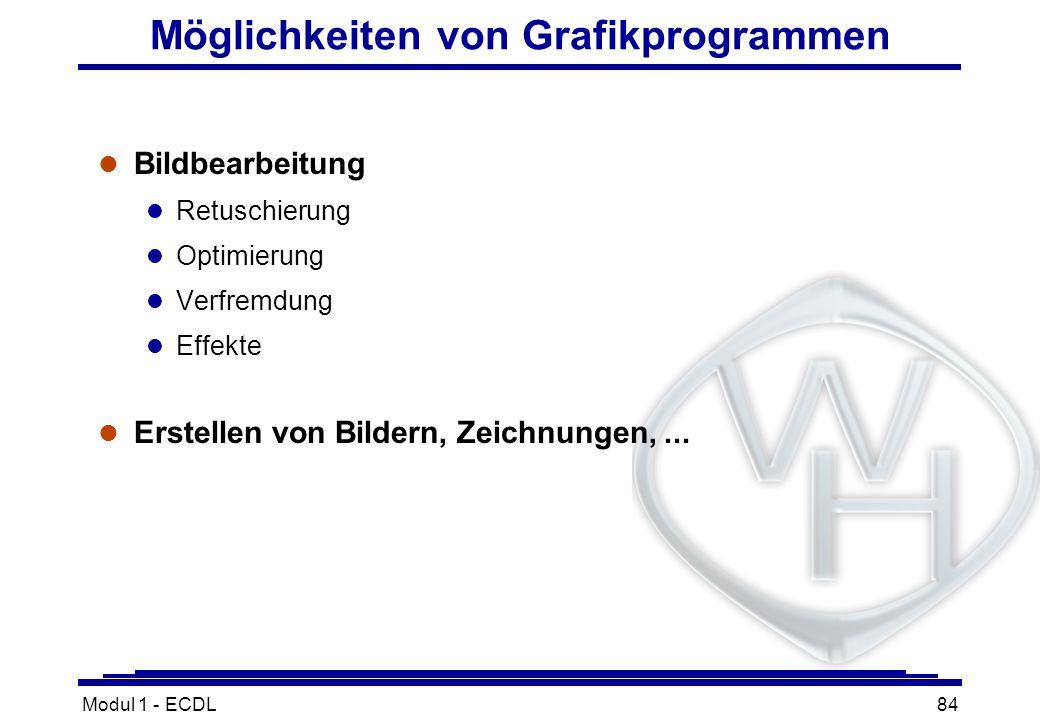 Modul 1 - ECDL84 Möglichkeiten von Grafikprogrammen l Bildbearbeitung l Retuschierung l Optimierung l Verfremdung l Effekte l Erstellen von Bildern, Z