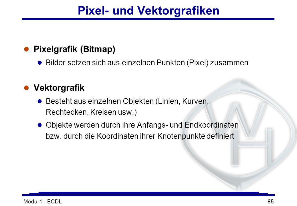 Modul 1 - ECDL85 Pixel- und Vektorgrafiken l Pixelgrafik (Bitmap) l Bilder setzen sich aus einzelnen Punkten (Pixel) zusammen l Vektorgrafik l Besteht