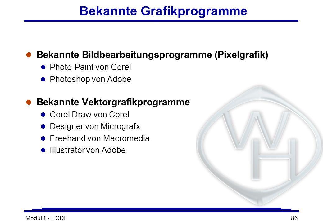 Modul 1 - ECDL86 Bekannte Grafikprogramme l Bekannte Bildbearbeitungsprogramme (Pixelgrafik) l Photo-Paint von Corel l Photoshop von Adobe l Bekannte