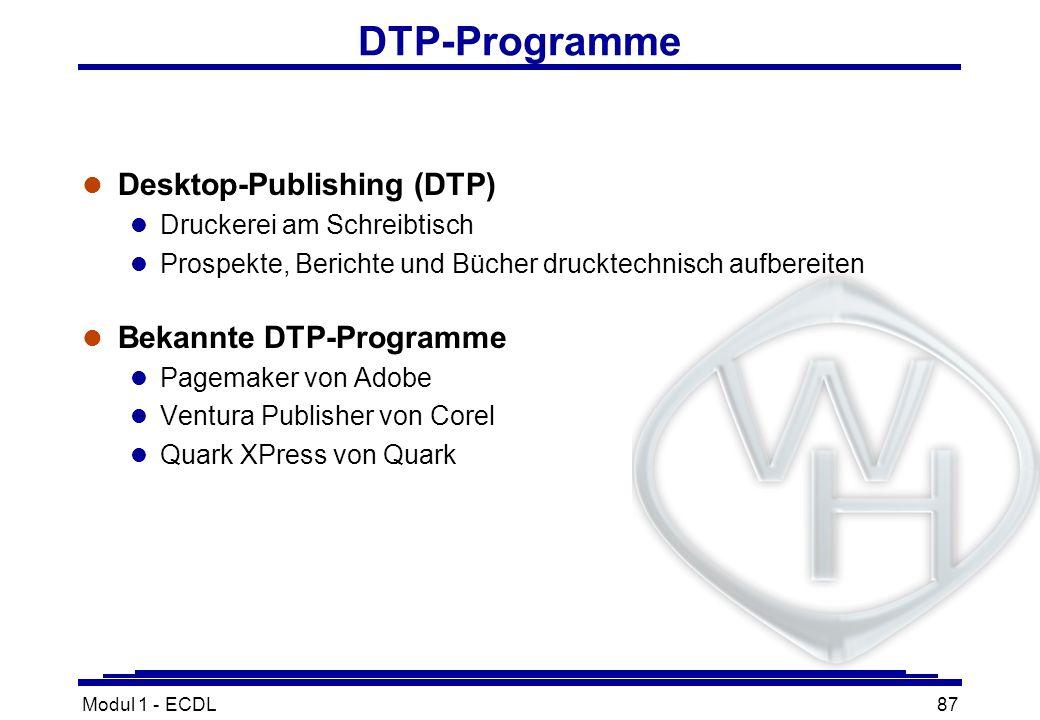 Modul 1 - ECDL87 DTP-Programme l Desktop-Publishing (DTP) l Druckerei am Schreibtisch l Prospekte, Berichte und Bücher drucktechnisch aufbereiten l Be