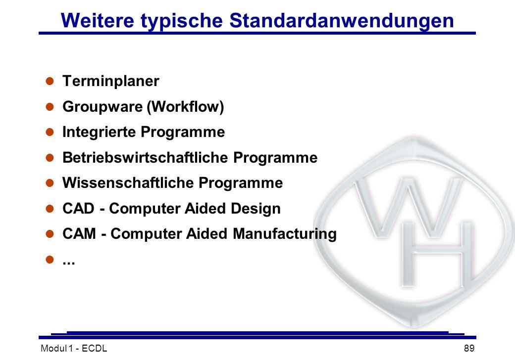 Modul 1 - ECDL89 Weitere typische Standardanwendungen l Terminplaner l Groupware (Workflow) l Integrierte Programme l Betriebswirtschaftliche Programm