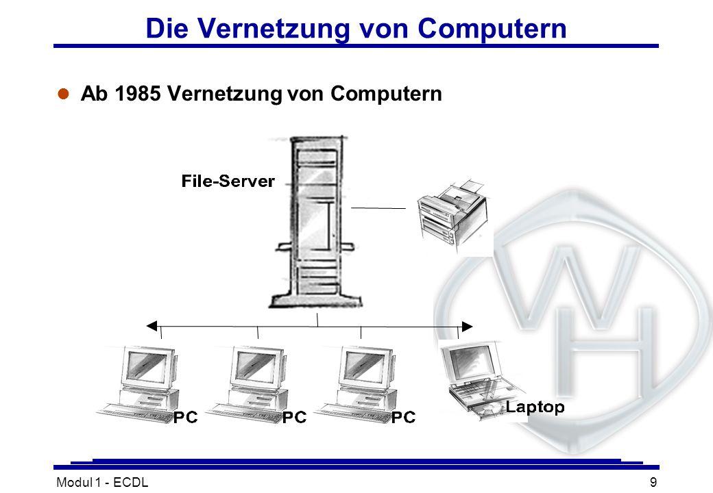 Modul 1 - ECDL9 l Ab 1985 Vernetzung von Computern Die Vernetzung von Computern