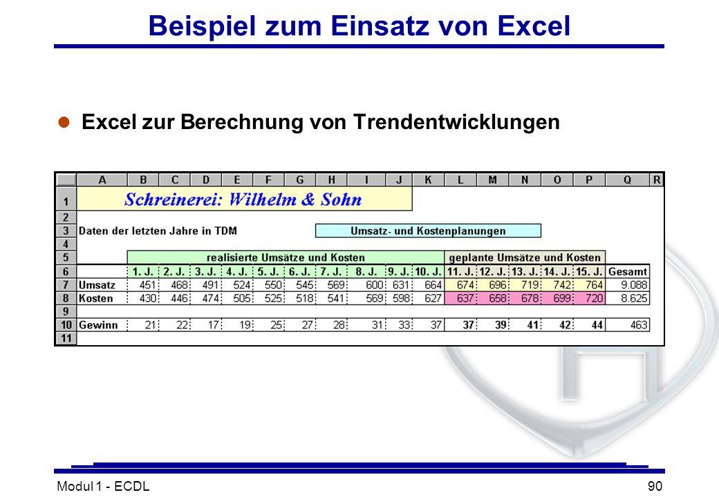 Modul 1 - ECDL90 Beispiel zum Einsatz von Excel l Excel zur Berechnung von Trendentwicklungen
