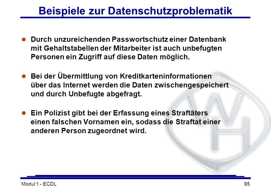 Modul 1 - ECDL95 Beispiele zur Datenschutzproblematik l Durch unzureichenden Passwortschutz einer Datenbank mit Gehaltstabellen der Mitarbeiter ist au