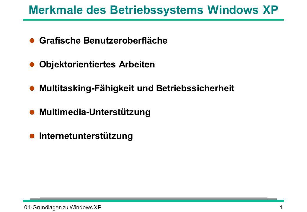 01-Grundlagen zu Windows XP1 Merkmale des Betriebssystems Windows XP l Grafische Benutzeroberfläche l Objektorientiertes Arbeiten l Multitasking-Fähigkeit und Betriebssicherheit l Multimedia-Unterstützung l Internetunterstützung