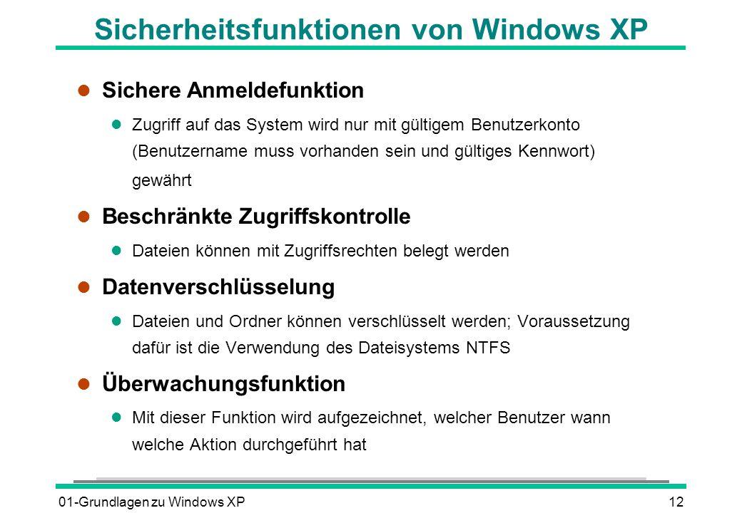 01-Grundlagen zu Windows XP12 Sicherheitsfunktionen von Windows XP l Sichere Anmeldefunktion l Zugriff auf das System wird nur mit gültigem Benutzerkonto (Benutzername muss vorhanden sein und gültiges Kennwort) gewährt l Beschränkte Zugriffskontrolle l Dateien können mit Zugriffsrechten belegt werden l Datenverschlüsselung l Dateien und Ordner können verschlüsselt werden; Voraussetzung dafür ist die Verwendung des Dateisystems NTFS l Überwachungsfunktion l Mit dieser Funktion wird aufgezeichnet, welcher Benutzer wann welche Aktion durchgeführt hat