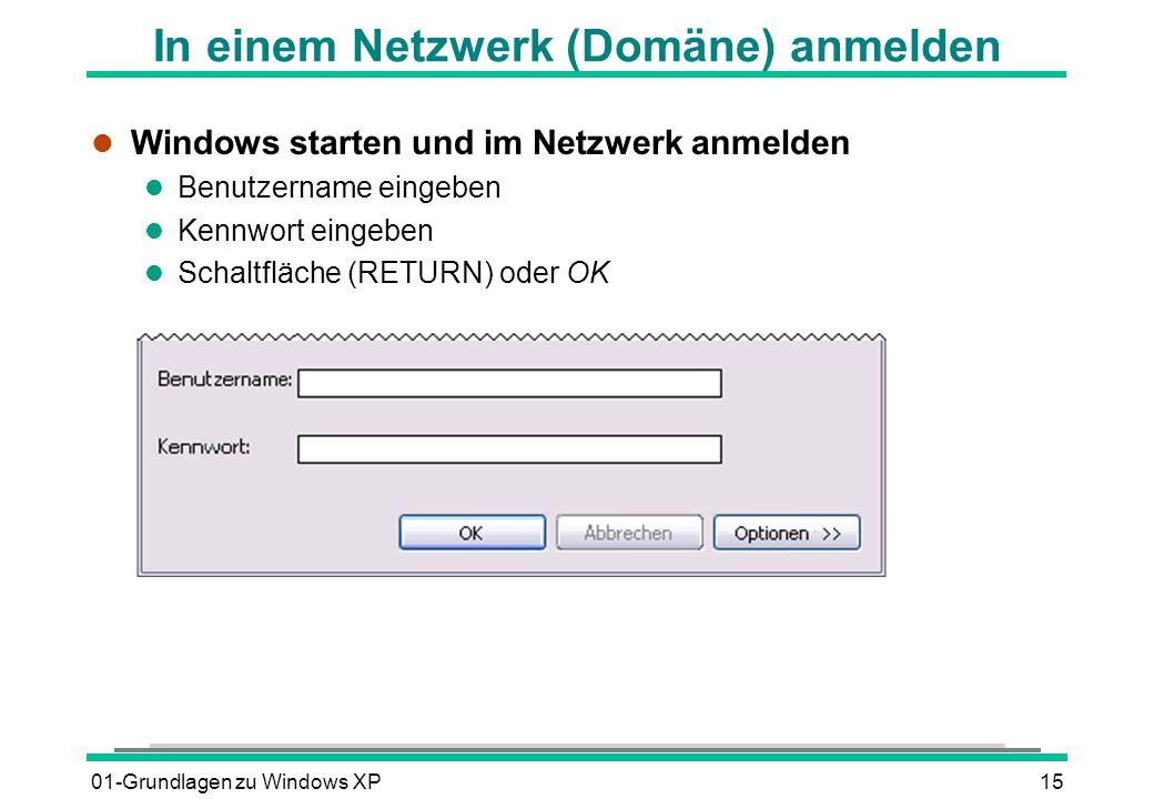 01-Grundlagen zu Windows XP15 In einem Netzwerk (Domäne) anmelden l Windows starten und im Netzwerk anmelden l Benutzername eingeben l Kennwort eingeben Schaltfläche (RETURN) oder OK