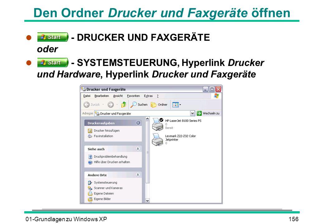 01-Grundlagen zu Windows XP156 Den Ordner Drucker und Faxgeräte öffnen l - DRUCKER UND FAXGERÄTE oder l - SYSTEMSTEUERUNG, Hyperlink Drucker und Hardware, Hyperlink Drucker und Faxgeräte