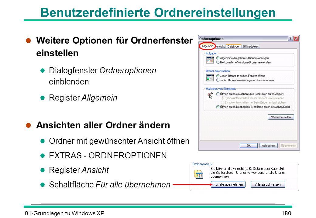 01-Grundlagen zu Windows XP180 Benutzerdefinierte Ordnereinstellungen l Weitere Optionen für Ordnerfenster einstellen l Dialogfenster Ordneroptionen einblenden l Register Allgemein l Ansichten aller Ordner ändern l Ordner mit gewünschter Ansicht öffnen l EXTRAS - ORDNEROPTIONEN l Register Ansicht l Schaltfläche Für alle übernehmen