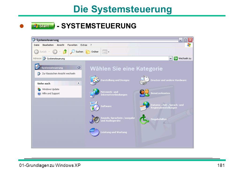 01-Grundlagen zu Windows XP181 Die Systemsteuerung l - SYSTEMSTEUERUNG