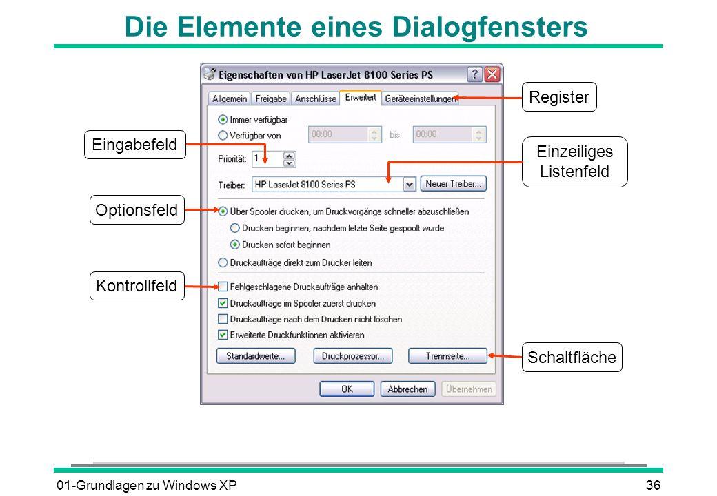 01-Grundlagen zu Windows XP36 Die Elemente eines Dialogfensters Einzeiliges Listenfeld Register Schaltfläche Optionsfeld Eingabefeld Kontrollfeld