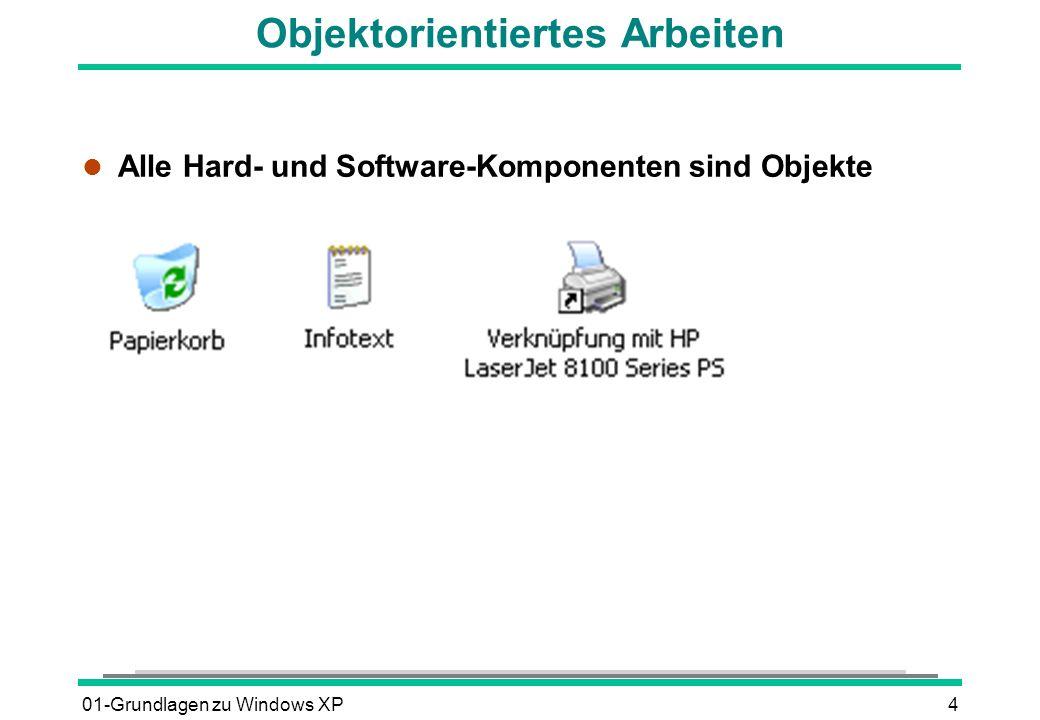 01-Grundlagen zu Windows XP4 Objektorientiertes Arbeiten l Alle Hard- und Software-Komponenten sind Objekte