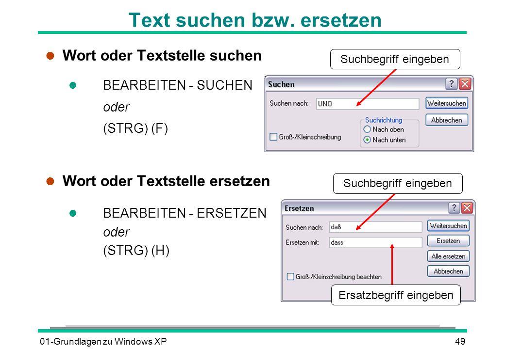 01-Grundlagen zu Windows XP49 Text suchen bzw.