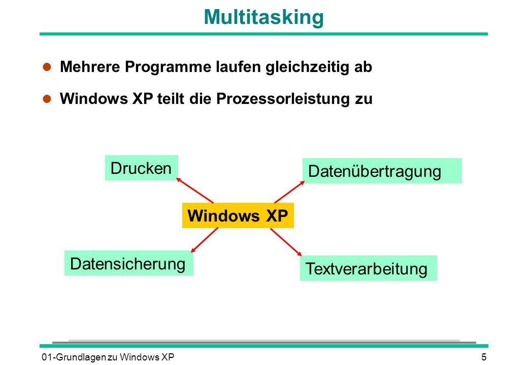 01-Grundlagen zu Windows XP6 Der Systemstart l Computer einschalten l Selbsttest des Computers l Einblenden des XP-Logos und automatisches Ausführen des Betriebssystemprogramms und Laden der installierten Dienste und Treiber Einblenden der Windows-XP-Willkommenseite l Benutzername auswählen und Kennwort eingeben l Windows kontrolliert die Eingaben und lädt die benutzerspezifischen Daten, z.B.