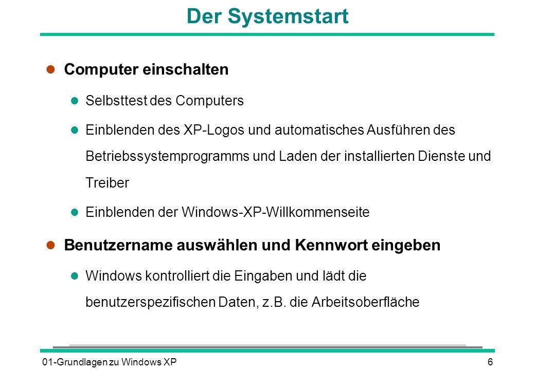 01-Grundlagen zu Windows XP177 Taskleiste bearbeiten l Symbolleiste hinzufügen l Mit der rechten Maustaste in einen freien Bereich der Taskleiste klicken l SYMBOLLEISTEN anklicken und im geöffneten Untermenü die gewünschte Leiste aktivieren l Symbolleiste bearbeiten l Größe und Position durch Ziehen mit der Maus ändern Voraussetzung: Kontextmenüpunkt TASKLEISTE FIXIEREN ausschalten l Symbolanzeige anpassen über das Kontextmenü ANSICHT l Symbole einfügen/entfernen mit Drag & Drop