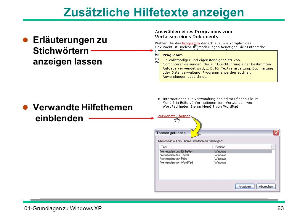 01-Grundlagen zu Windows XP63 Zusätzliche Hilfetexte anzeigen l Erläuterungen zu Stichwörtern anzeigen lassen l Verwandte Hilfethemen einblenden