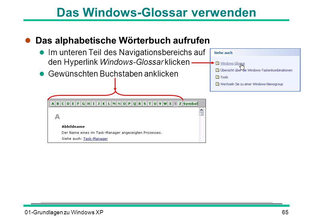 01-Grundlagen zu Windows XP65 Das Windows-Glossar verwenden l Das alphabetische Wörterbuch aufrufen l Im unteren Teil des Navigationsbereichs auf den Hyperlink Windows-Glossar klicken l Gewünschten Buchstaben anklicken