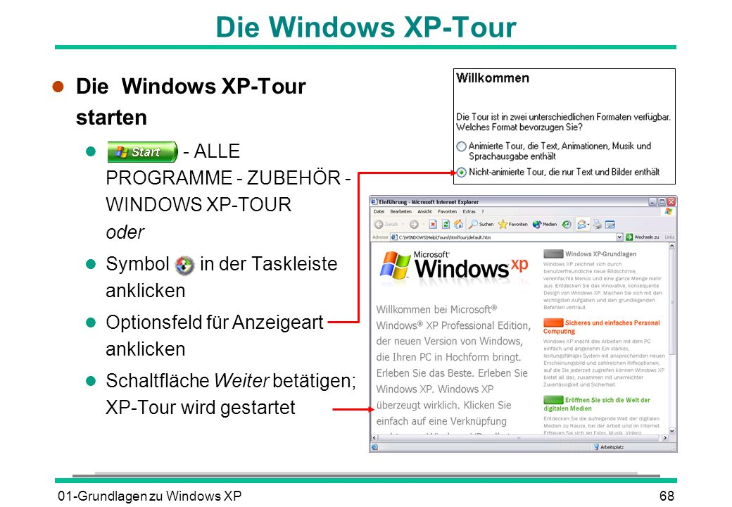 01-Grundlagen zu Windows XP68 Die Windows XP-Tour l Die Windows XP-Tour starten l - ALLE PROGRAMME - ZUBEHÖR - WINDOWS XP-TOUR oder l Symbol in der Ta