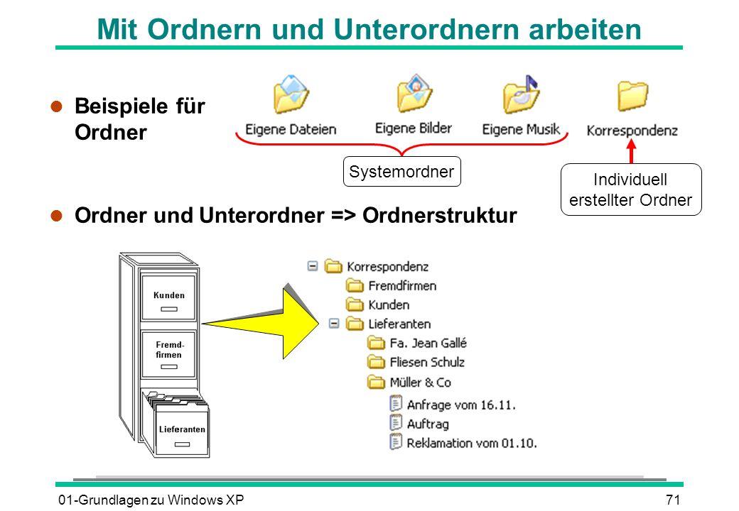 01-Grundlagen zu Windows XP71 Mit Ordnern und Unterordnern arbeiten l Beispiele für Ordner l Ordner und Unterordner => Ordnerstruktur Systemordner Individuell erstellter Ordner