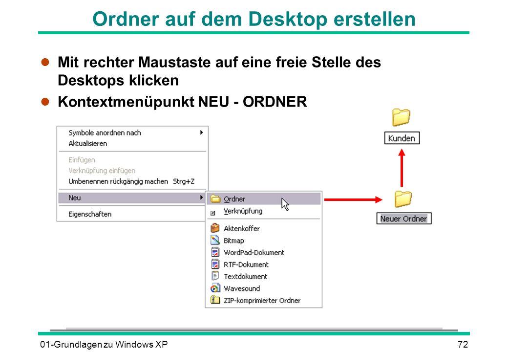 01-Grundlagen zu Windows XP72 Ordner auf dem Desktop erstellen l Mit rechter Maustaste auf eine freie Stelle des Desktops klicken l Kontextmenüpunkt NEU - ORDNER