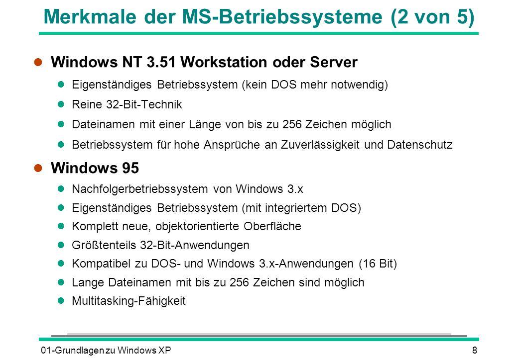 01-Grundlagen zu Windows XP9 Merkmale der MS-Betriebssysteme (3 von 5) l Windows 98 l Nachfolgerbetriebssystem von Windows 95 l Objektorientierte Oberfläche ähnlich Windows 95 l Größtenteils 32-Bit-Komponenten l Neues FAT32-Dateisystem (Partitionen mit mehr als 2 GB möglich) l Integration des Internet Explorers 5 l Einheitliche Darstellung von Internet Explorer, Windows-Explorer, Ordnern l Windows NT 4.0 Workstation oder Server l Nachfolgerbetriebssystem von Windows NT 3.51 mit weit gehend gleichen Eigenschaften l Die grafische Oberfläche ist identisch mit Windows 95 (objektorientiert)