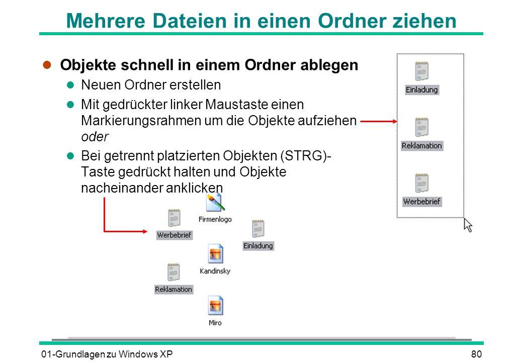 01-Grundlagen zu Windows XP80 Mehrere Dateien in einen Ordner ziehen l Objekte schnell in einem Ordner ablegen l Neuen Ordner erstellen l Mit gedrückter linker Maustaste einen Markierungsrahmen um die Objekte aufziehen oder Bei getrennt platzierten Objekten (STRG)- Taste gedrückt halten und Objekte nacheinander anklicken