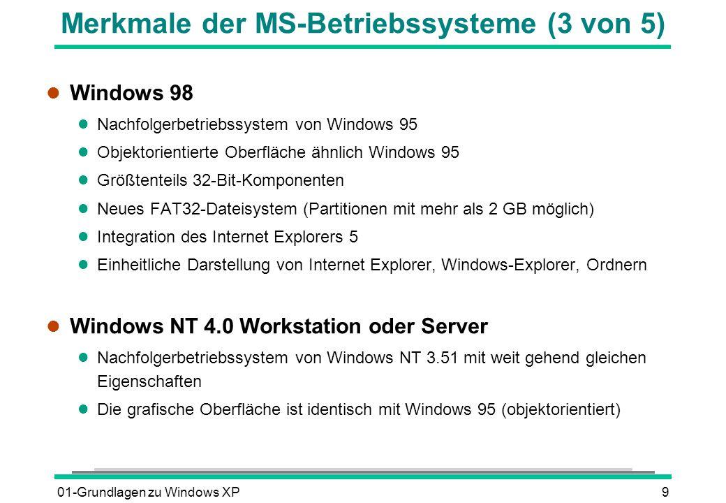 01-Grundlagen zu Windows XP10 Merkmale der MS-Betriebssysteme (4 von 5) l Windows 2000 Professional l Nachfolgerbetriebssystem von Windows NT 4.0 l Neues NTFS5-Dateisystem (Verschlüsselung von Dateien und Ordnern möglich) l Benutzerfreundlichkeit und grafische Oberfläche ähnlich Windows 98 l Lange Dateinamen von bis zu 215 Zeichen möglich l Integration des Internet Explorers 5 in das Betriebssystem l Windows Me l Nachfolgerbetriebssystem von Windows 98 l Grafische Benutzeroberfläche ähnlich Windows 98 bzw.