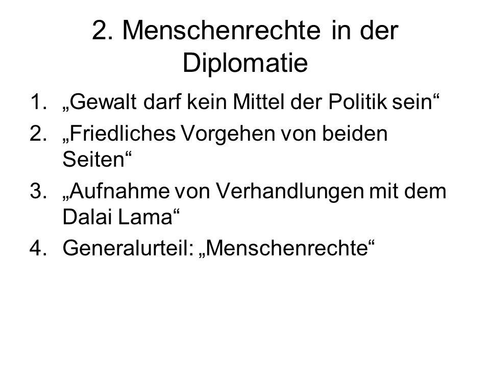 2. Menschenrechte in der Diplomatie 1.Gewalt darf kein Mittel der Politik sein 2.Friedliches Vorgehen von beiden Seiten 3.Aufnahme von Verhandlungen m