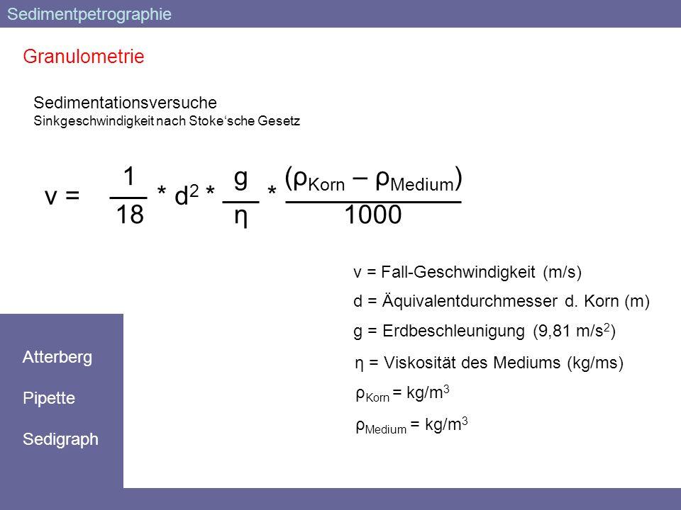 Granulometrie Sedimentationsversuche Sinkgeschwindigkeit nach Stokesche Gesetz v = 1 18 gηgη d2d2 *** (ρ Korn – ρ Medium ) 1000 v = Fall-Geschwindigke