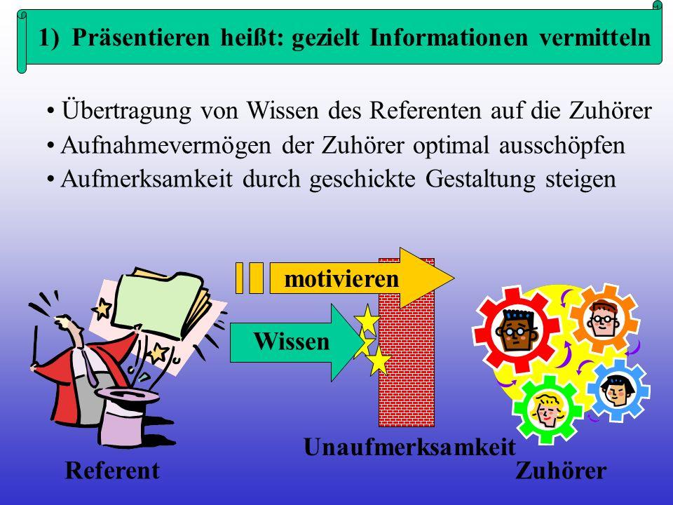 1) Präsentieren heißt: gezielt Informationen vermitteln Übertragung von Wissen des Referenten auf die Zuhörer Zuhörer Referent Aufnahmevermögen der Zu