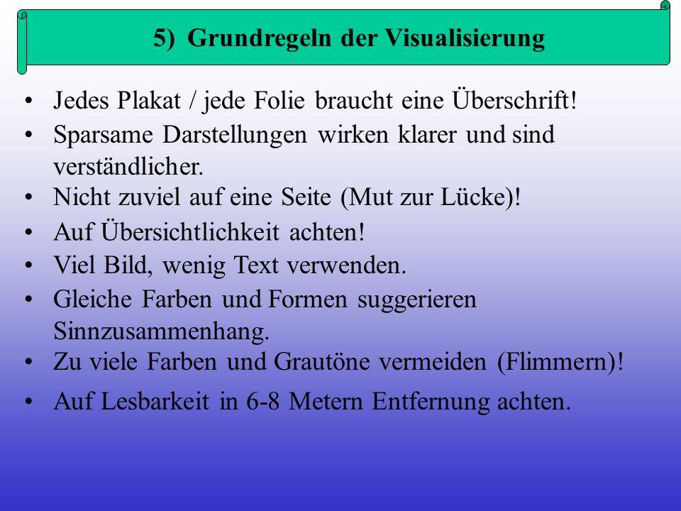 5) Grundregeln der Visualisierung Jedes Plakat / jede Folie braucht eine Überschrift! Sparsame Darstellungen wirken klarer und sind verständlicher. Ni