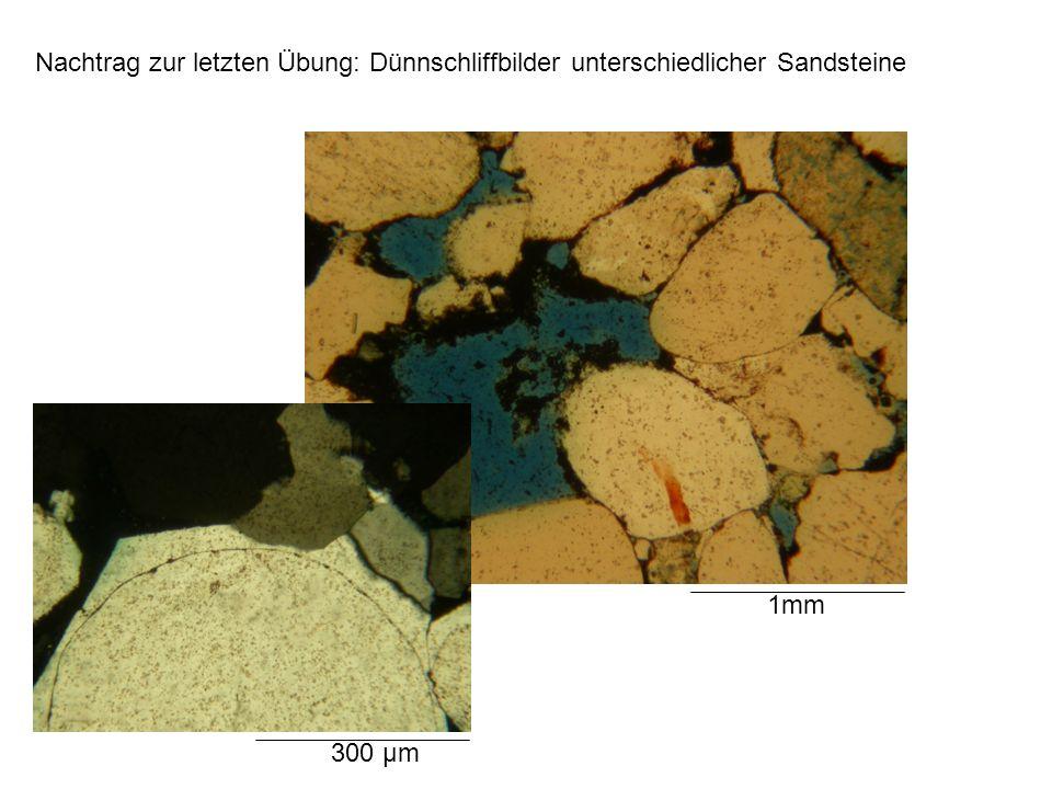 Nachtrag zur letzten Übung: Dünnschliffbilder unterschiedlicher Sandsteine 1mm 300 µm