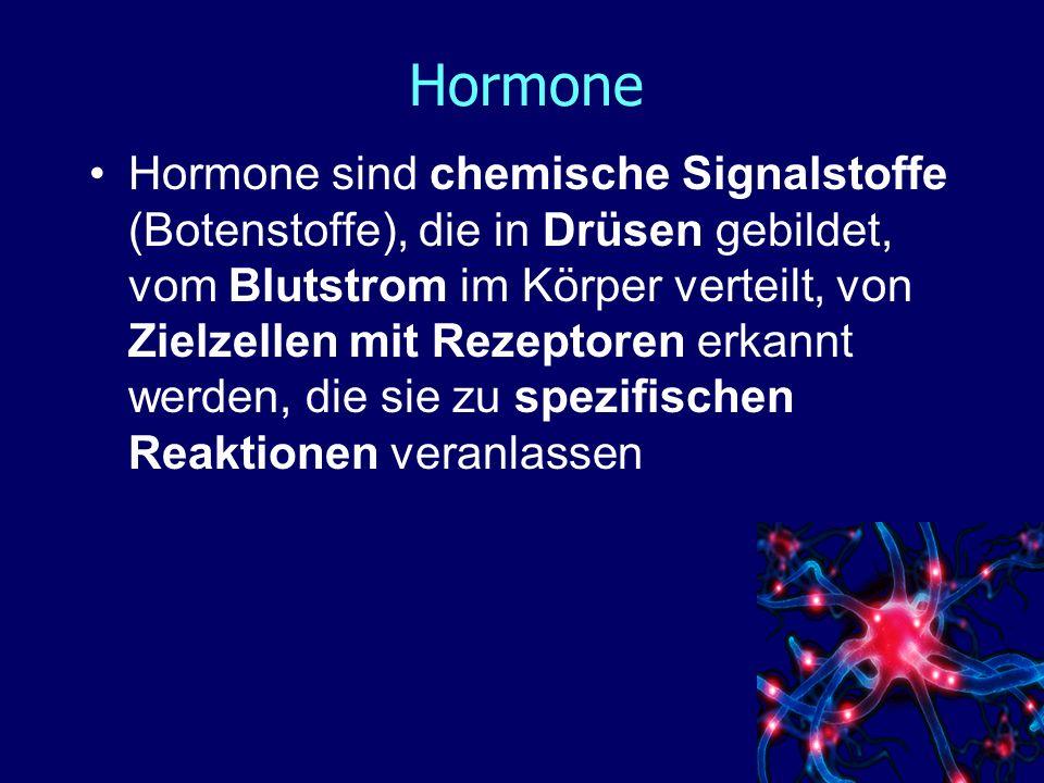 Hormone Hormone sind nicht artspezifisch, aber wirkungsspezifisch.