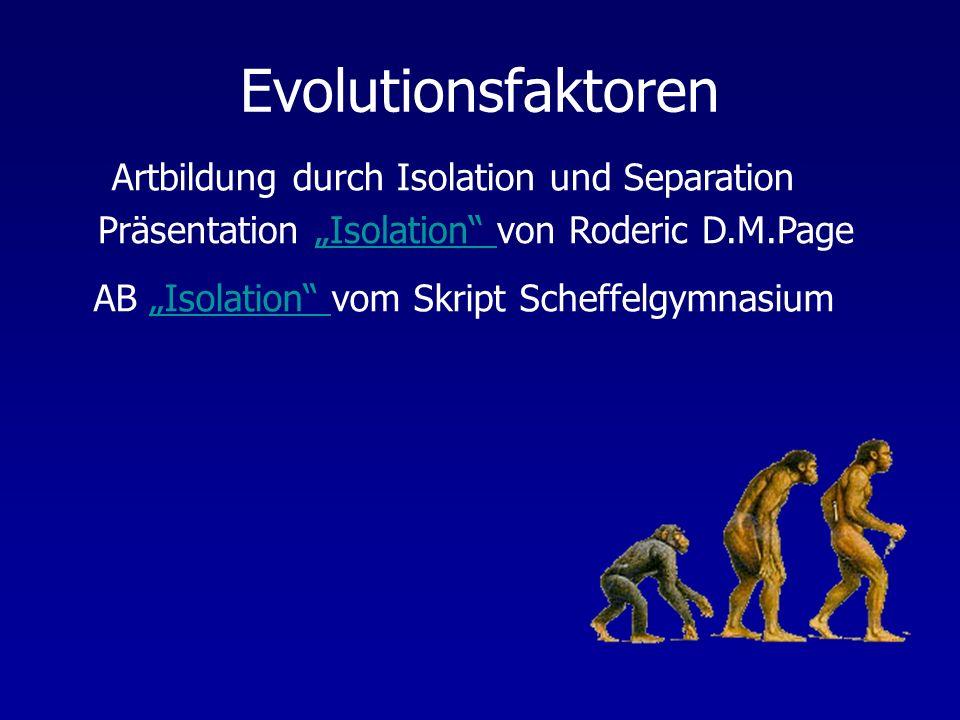 Evolutionsfaktoren Artbildung durch Isolation und Separation Präsentation Isolation von Roderic D.M.PageIsolation AB Isolation vom Skript Scheffelgymn