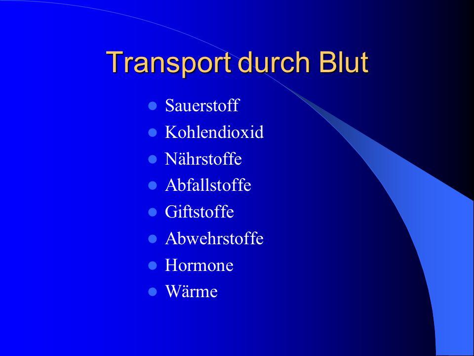 Transport durch Blut Sauerstoff Kohlendioxid Nährstoffe Abfallstoffe Giftstoffe Abwehrstoffe Hormone Wärme