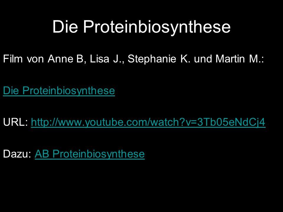 Die Proteinbiosynthese Film von Anne B, Lisa J., Stephanie K. und Martin M.: Die Proteinbiosynthese URL: http://www.youtube.com/watch?v=3Tb05eNdCj4htt