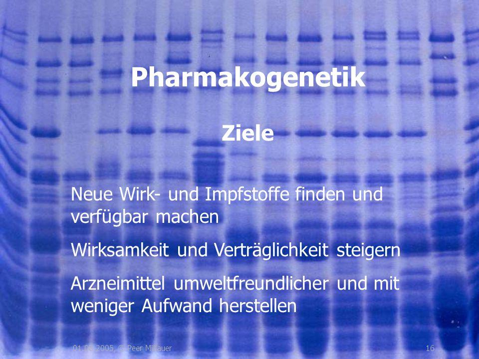 1601.08.2005, © Peer Millauer Ziele Pharmakogenetik Neue Wirk- und Impfstoffe finden und verfügbar machen Wirksamkeit und Verträglichkeit steigern Arz