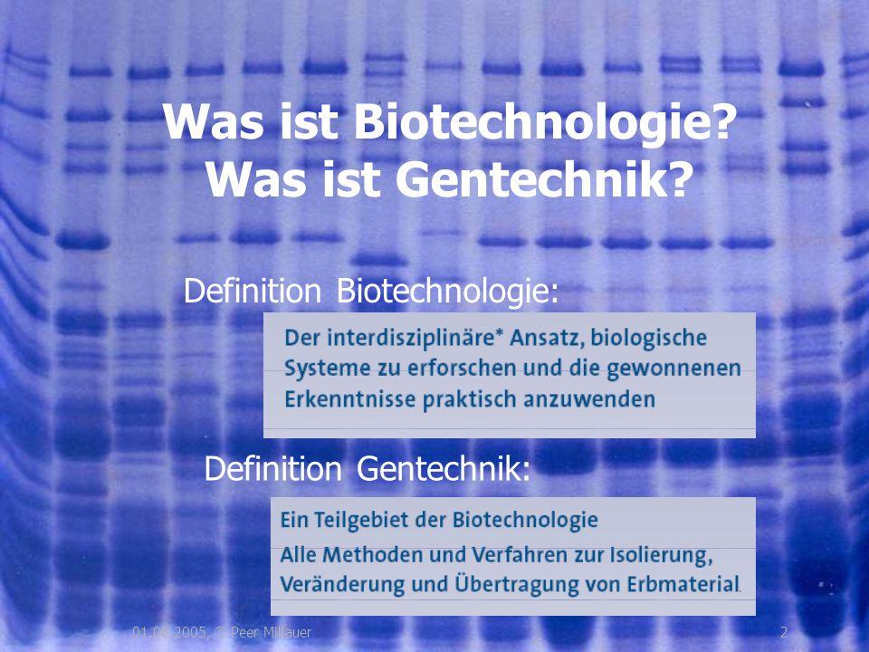 201.08.2005, © Peer Millauer Was ist Biotechnologie? Was ist Gentechnik? Definition Biotechnologie: Definition Gentechnik:
