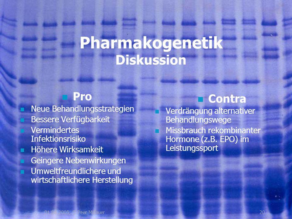 2001.08.2005, © Peer Millauer Pharmakogenetik Diskussion Pro Neue Behandlungsstrategien Bessere Verfügbarkeit Vermindertes Infektionsrisiko Höhere Wir