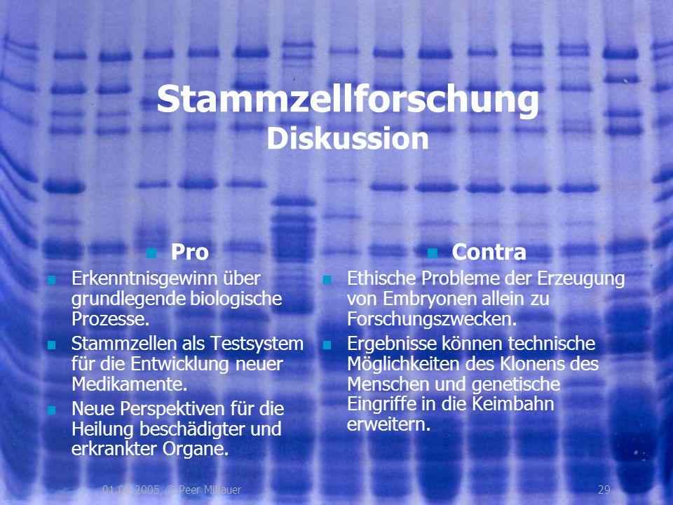 2901.08.2005, © Peer Millauer Stammzellforschung Diskussion Pro Erkenntnisgewinn über grundlegende biologische Prozesse. Stammzellen als Testsystem fü