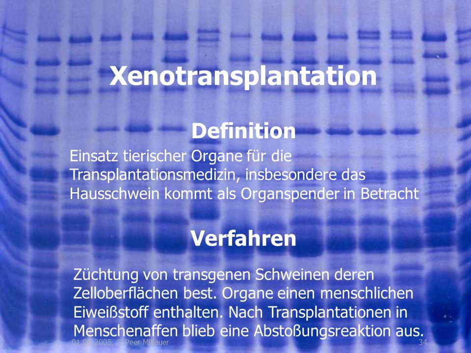 3401.08.2005, © Peer Millauer Definition Xenotransplantation Verfahren Einsatz tierischer Organe für die Transplantationsmedizin, insbesondere das Hau