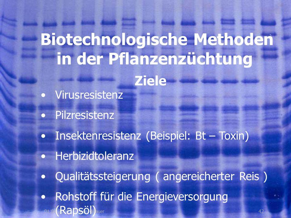4201.08.2005, © Peer Millauer Ziele Biotechnologische Methoden in der Pflanzenzüchtung Virusresistenz Pilzresistenz Insektenresistenz (Beispiel: Bt –