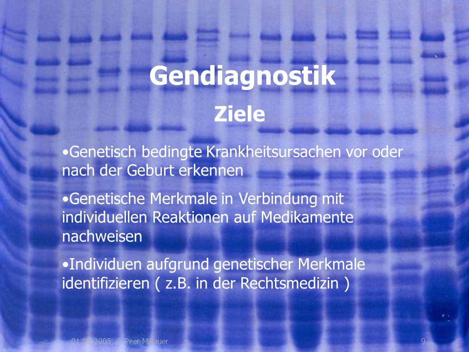 901.08.2005, © Peer Millauer Gendiagnostik Genetisch bedingte Krankheitsursachen vor oder nach der Geburt erkennen Genetische Merkmale in Verbindung m