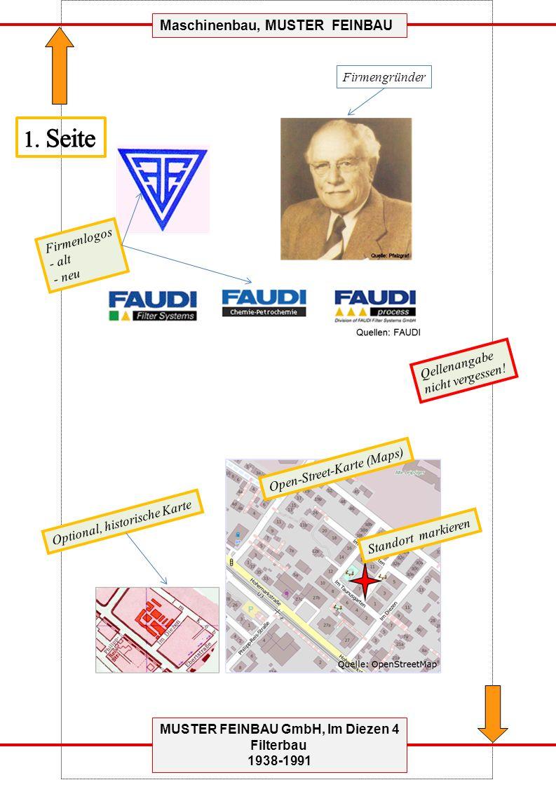 MUSTER FEINBAU GmbH, Im Diezen 4 Filterbau 1938-1991 Maschinenbau, MUSTER FEINBAU Firmengründer Firmenlogos - alt - neu Open-Street-Karte (Maps) Optional, historische Karte Qellenangabe nicht vergessen.