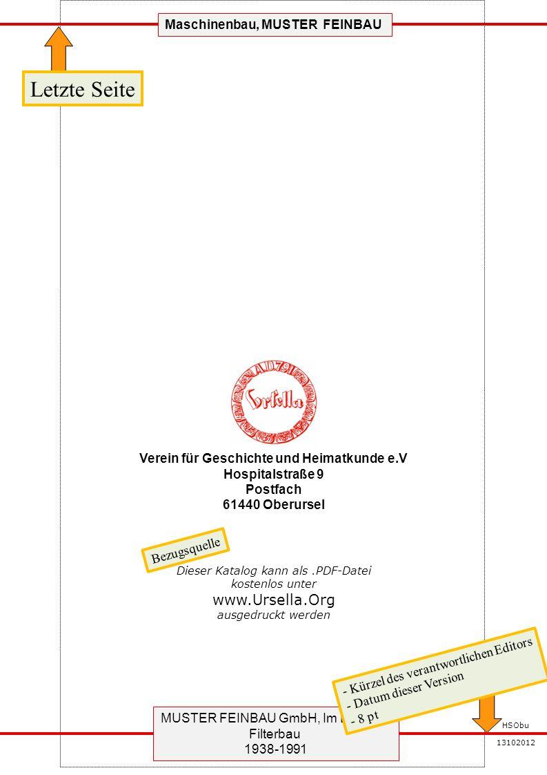 MUSTER FEINBAU GmbH, Im Diezen 4 Filterbau 1938-1991 HSObu 13102012 Maschinenbau, MUSTER FEINBAU Reserve Ergänzungen und weiter Informationen