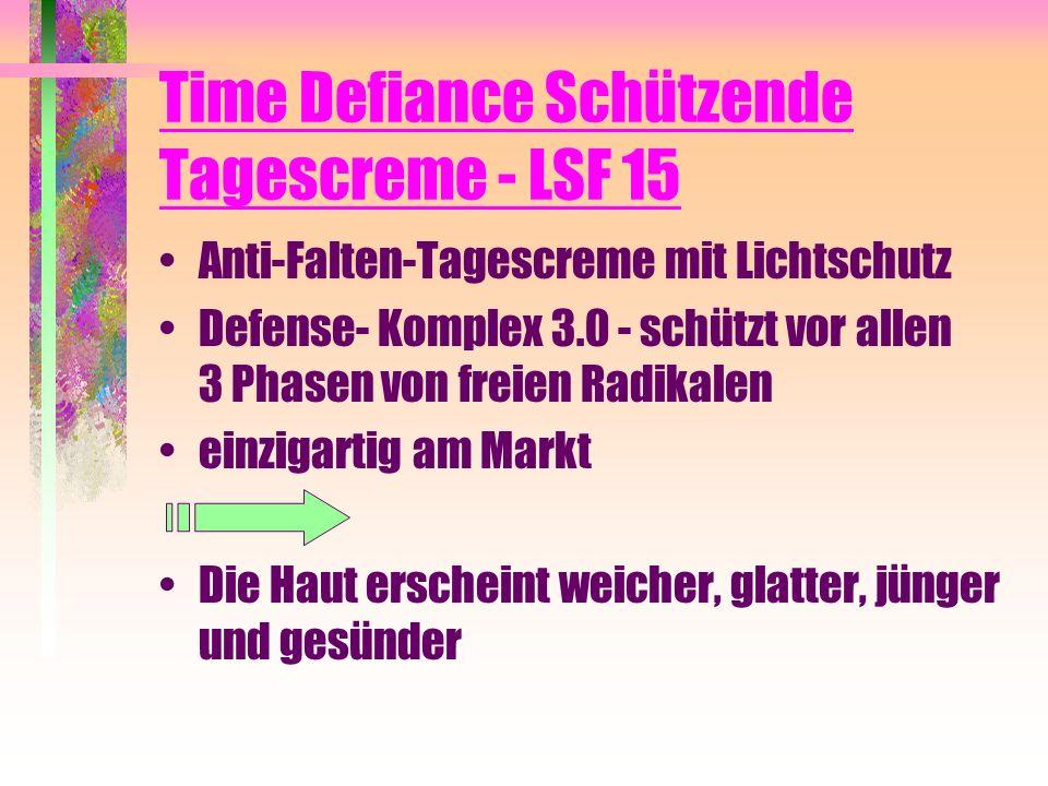 Time Defiance Schützende Tagescreme - LSF 15 Anti-Falten-Tagescreme mit Lichtschutz Defense- Komplex 3.0 - schützt vor allen 3 Phasen von freien Radik