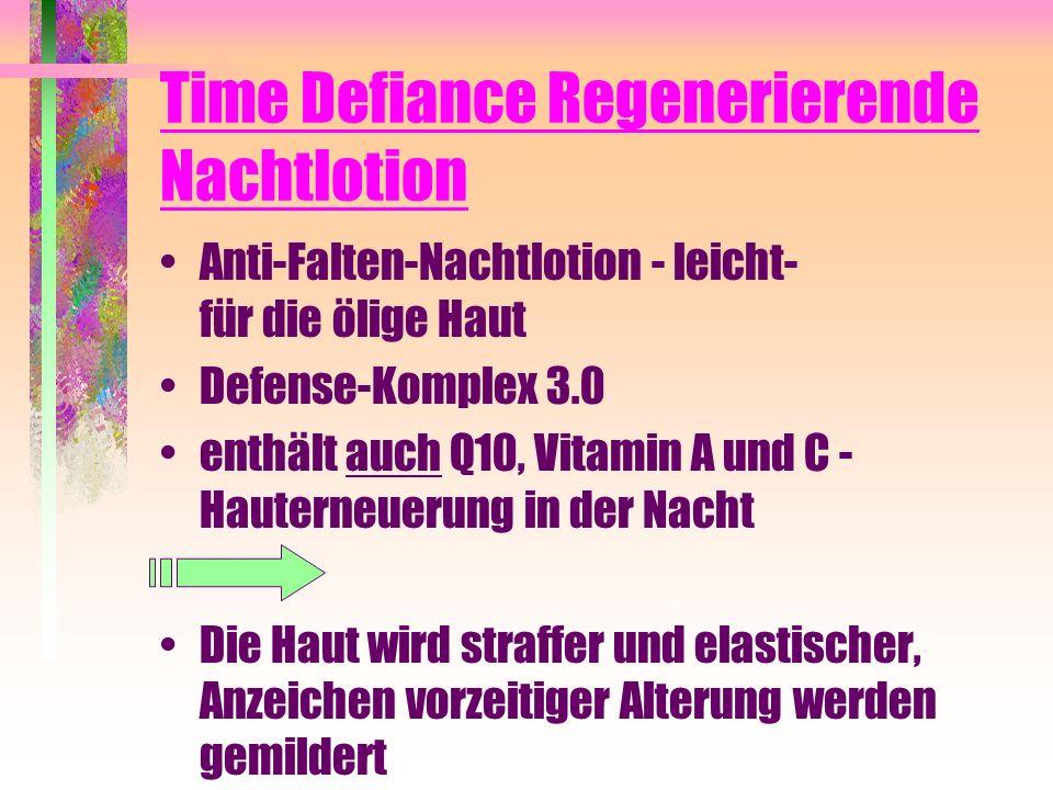 Time Defiance Regenerierende Nachtlotion Anti-Falten-Nachtlotion - leicht- für die ölige Haut Defense-Komplex 3.0 enthält auch Q10, Vitamin A und C -